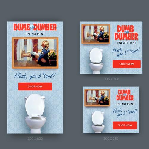 Banner ads for fine artist showing irreverent art hanging above toilet