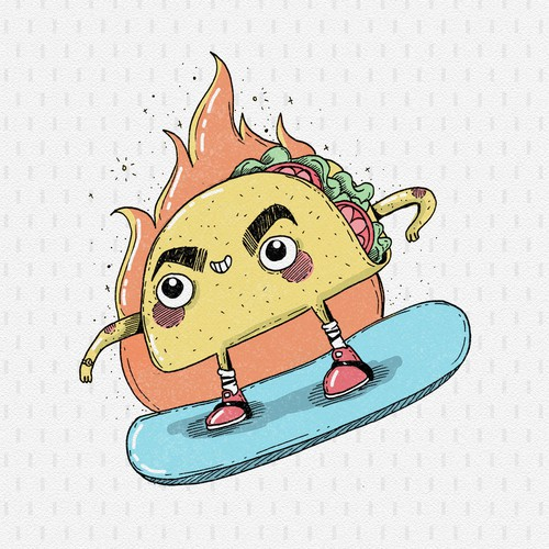 Taco on a snowboard