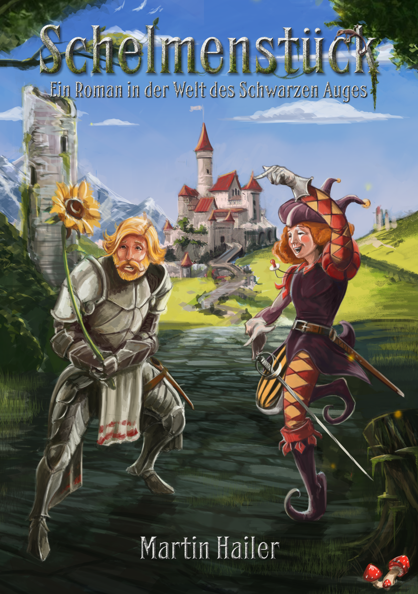 Book cover for a comical fantasy novel wanted