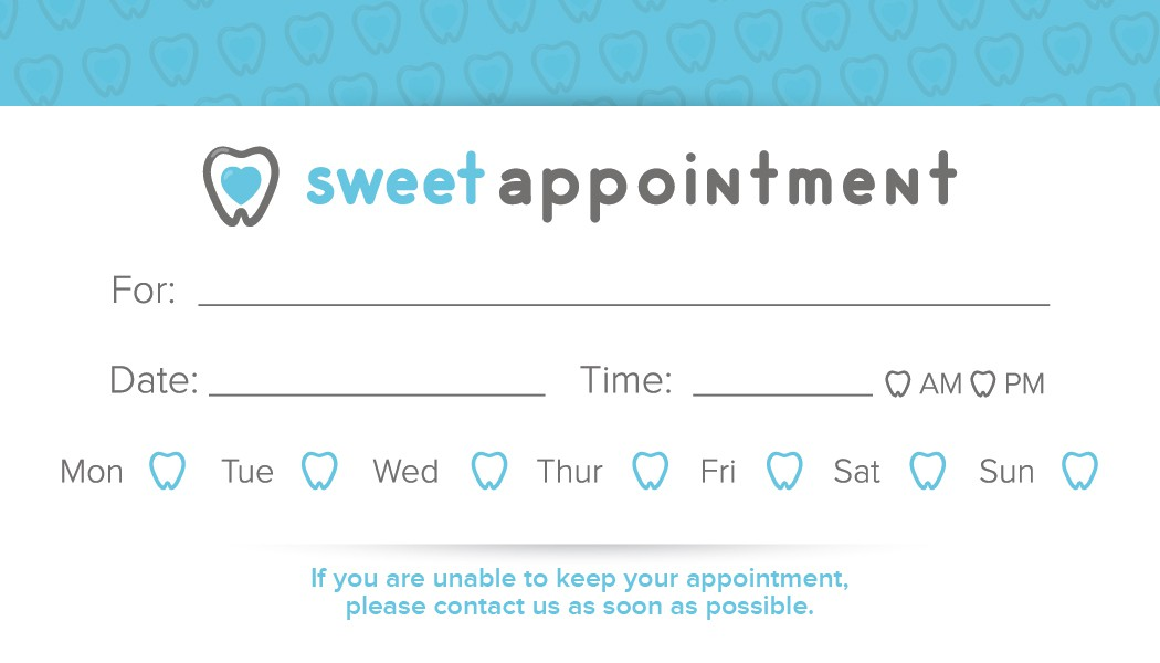 sweet business card design for sweet tooth dental office.