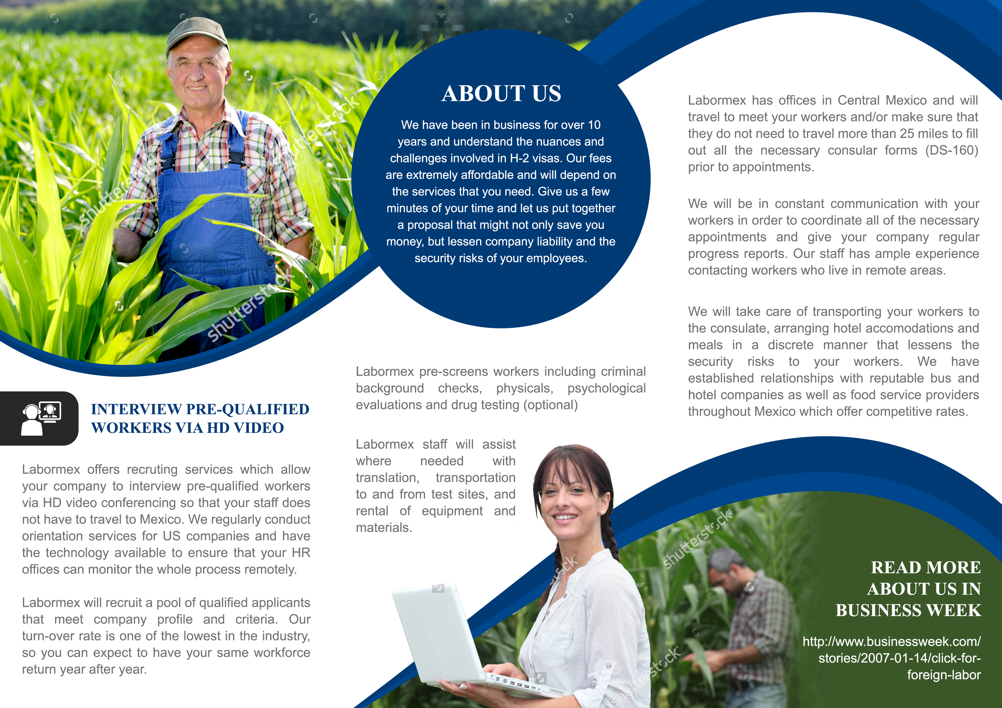 Tri-fold brochure for agriculture-immigration logistics company