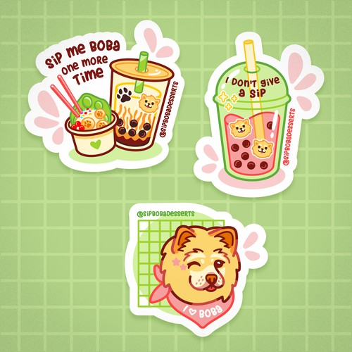 stickers for a boba shop