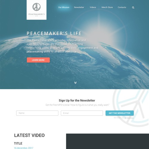 Landing Page Concept For Peacemakers's life