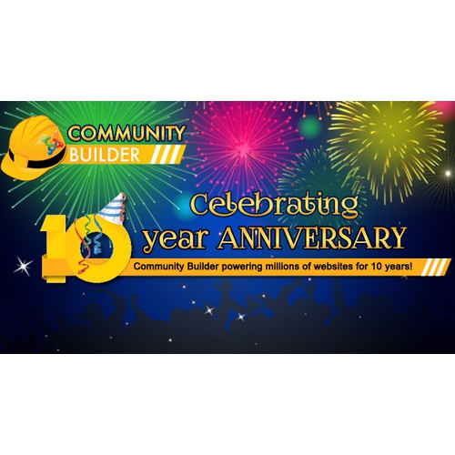 Joomlapolis / Community Builder 10 year anniversary celebration image+banner