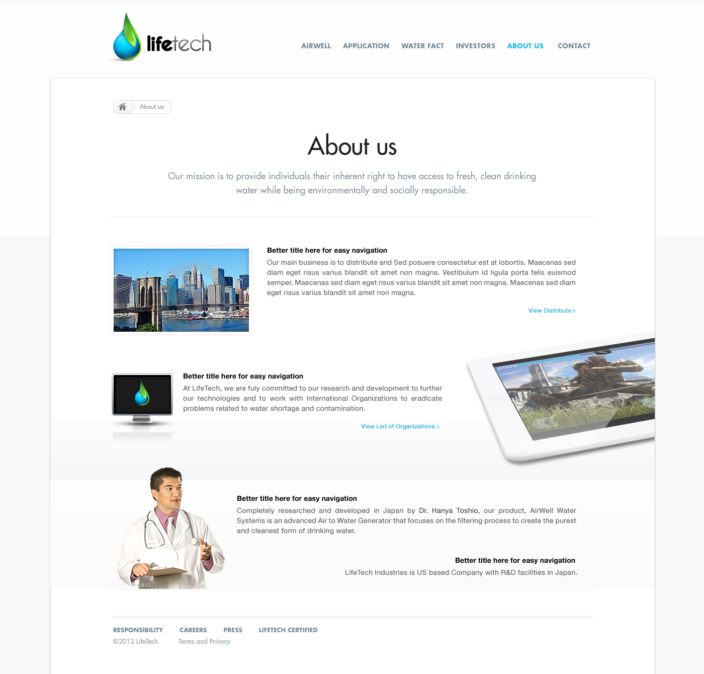 New website design for LifeTech: We turn air into drinking water.