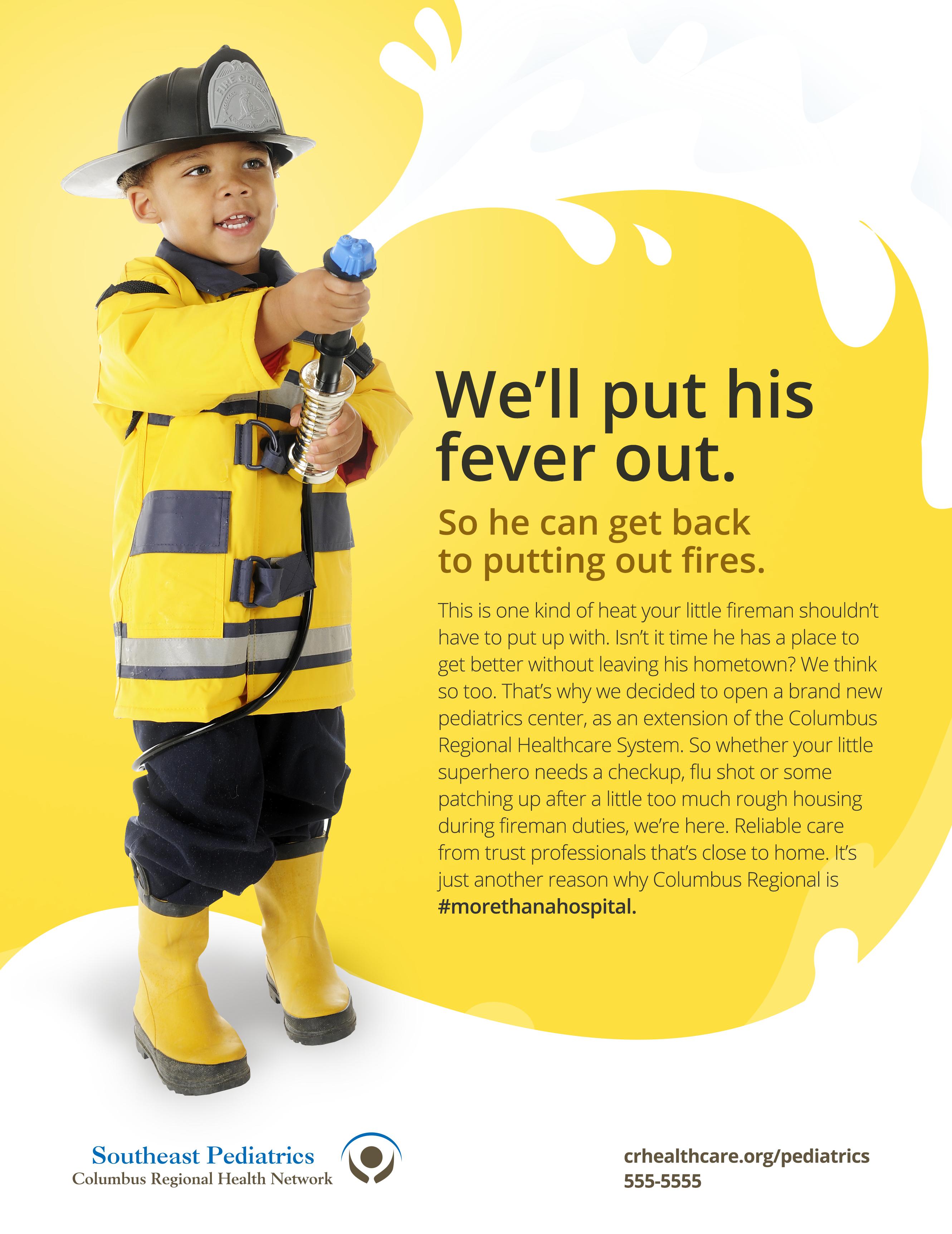 Design a bright, eye-catching ad for a new pediatrics center!