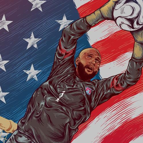 Illustration of USA Goalkeeper Tim Howard for World Cup