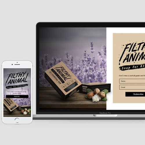 Subscription page for Filthy Animals soap
