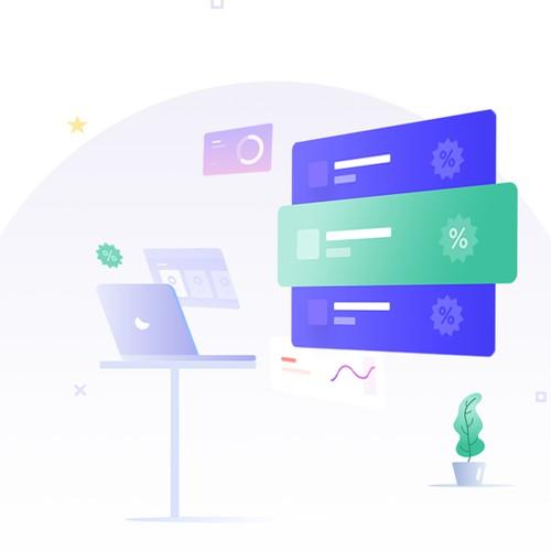 Forbruker website design with illustrations