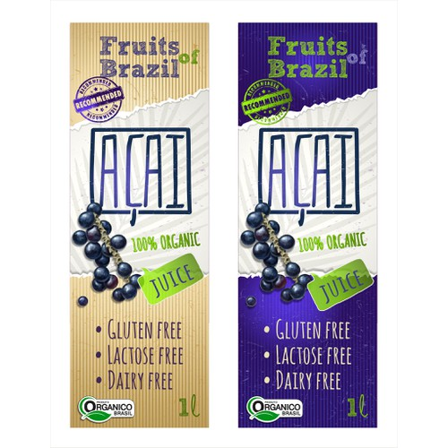 Create an exciting label design for Açaí Beverage!