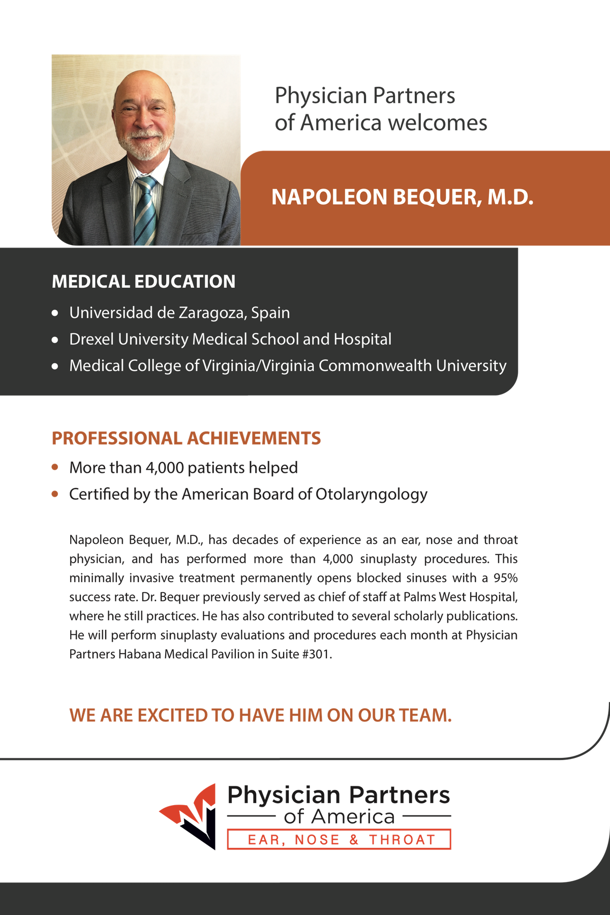 Welcome Dr. Bequer poster