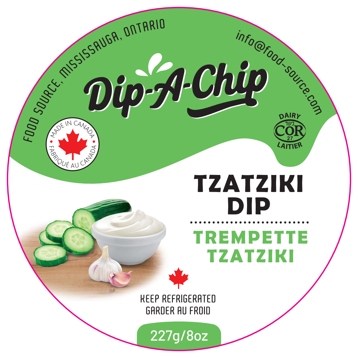 Tzatziki dip & 3 old packaging revisions