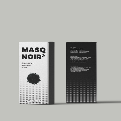 Black mask (cosmetic) package design