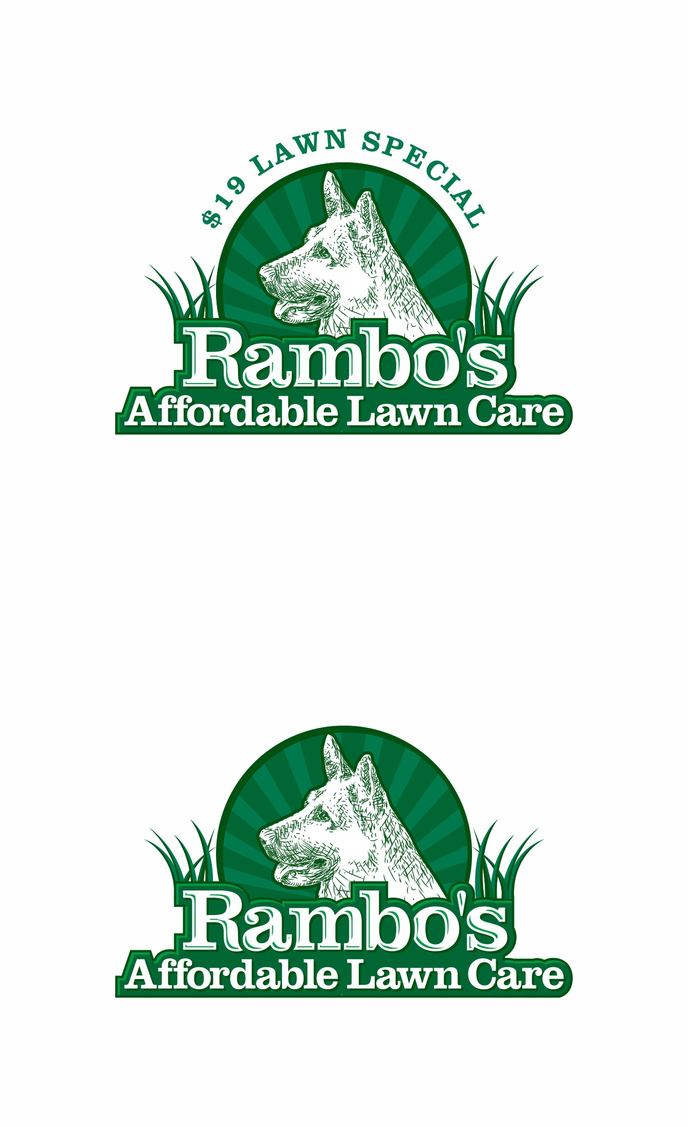 "Create a crazy detailed logo of a German Shepherd with Loud colors and letters "" Rambo's Affordable Lawn Care""  $19"