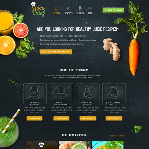 Create a captivating homepage for a juicing website.