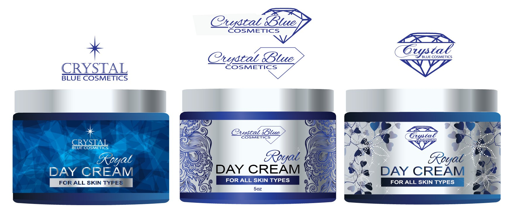 Create the next product label for Crystal Blue Cosmetics