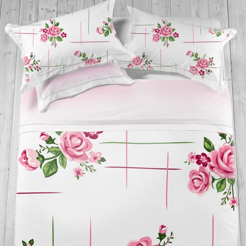 Feminine pattern with small pink roses
