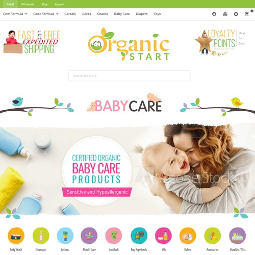 Web page design for Organic
