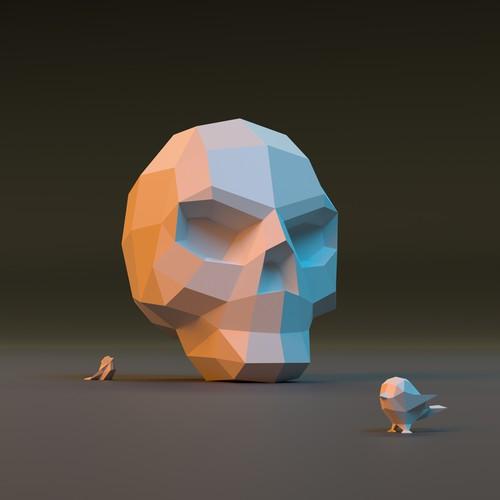 Skull and birds