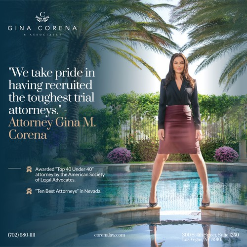 Magazine Ad for the Gina Corena Law Firm