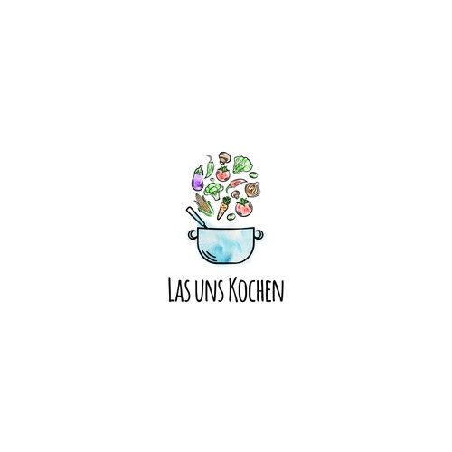 water color style vegan logo design