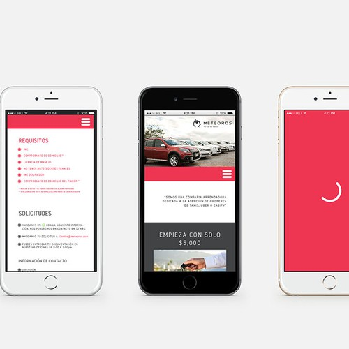 Mobile web design for a car leasing company.