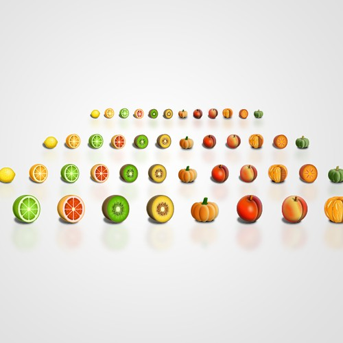 Application icon set (fruit/trees/sealife)