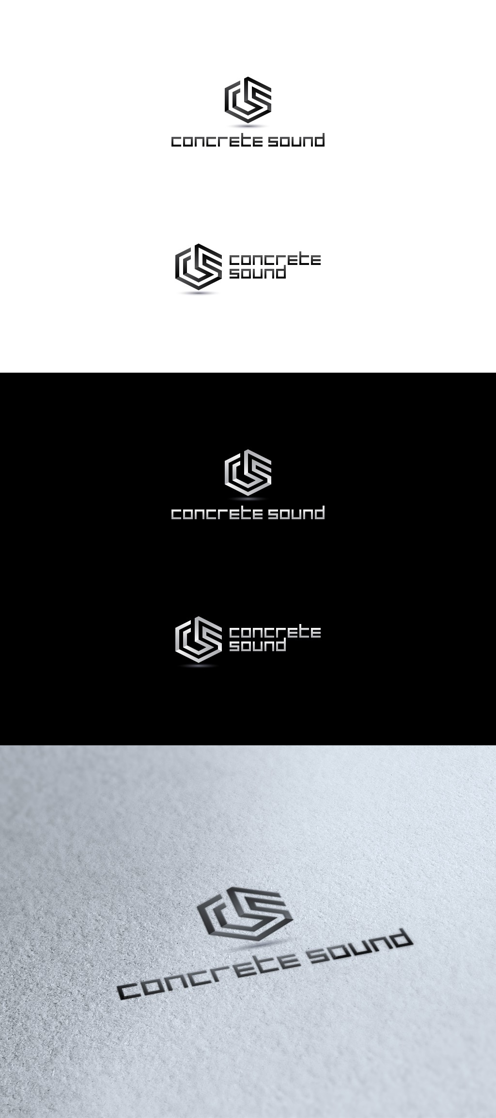 Create a logo for a modern startup that sells speakers out of concrete