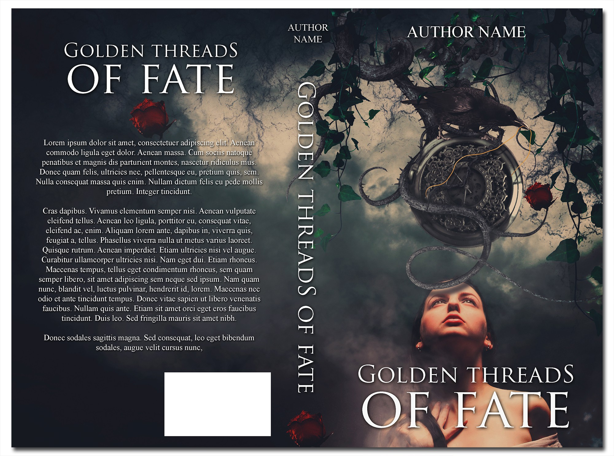 "Book cover for my book ""Golden threads of fate"""