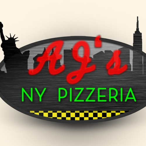 Create the next signage for AJ's NY Pizzeria