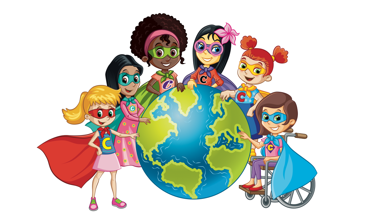 Final Image of the world with Confidence Girls around it