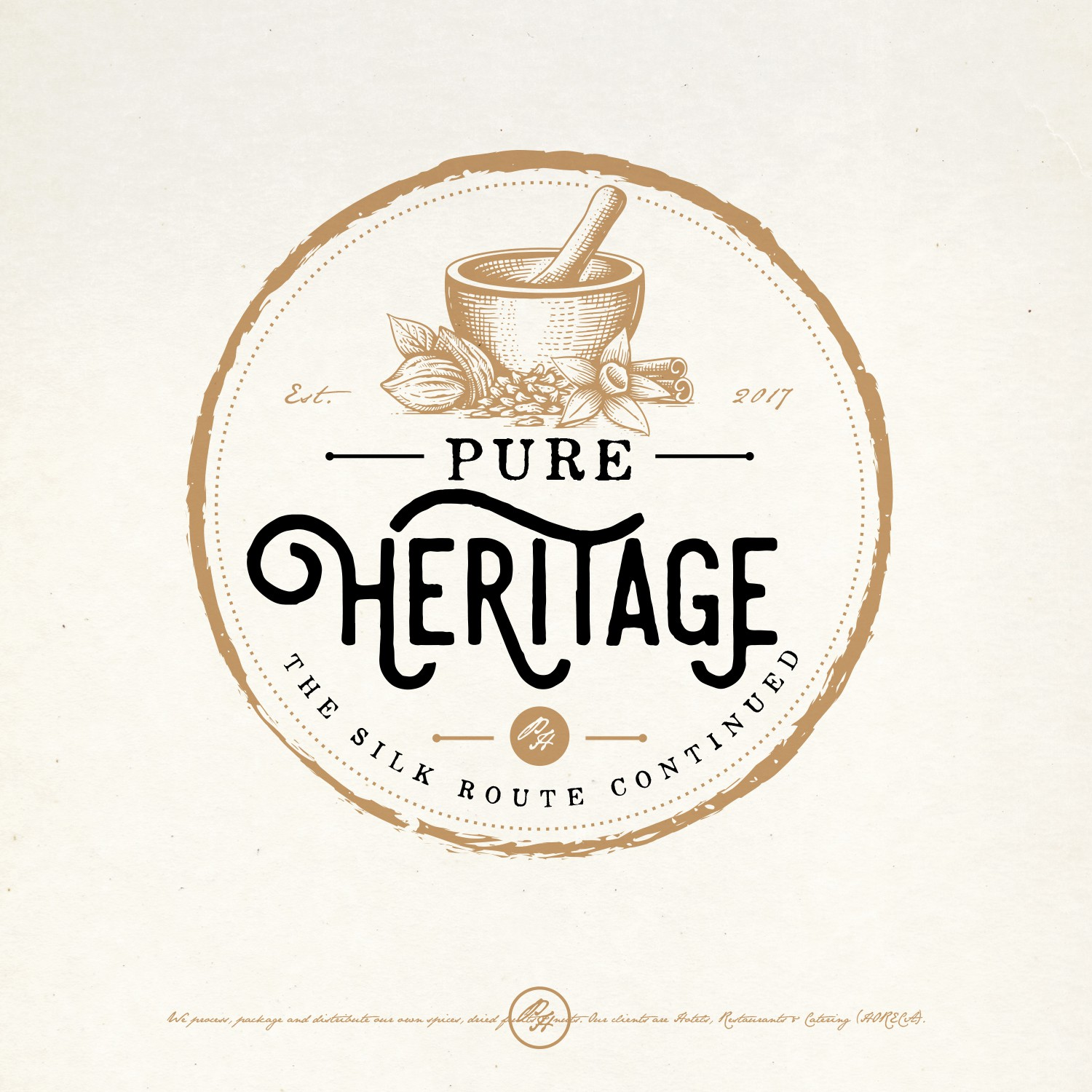 vintage mortar and pestle logo design