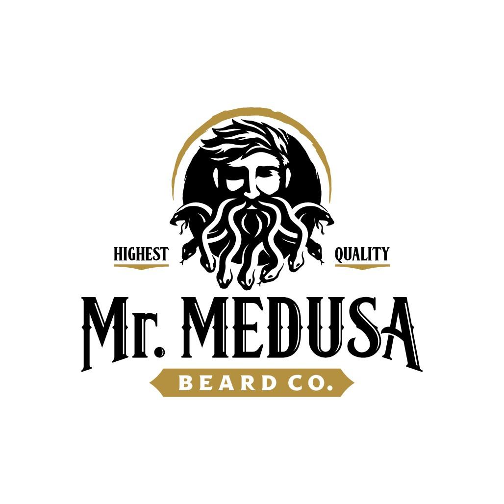 Design a compelling logo for a medusa themed beard oil company