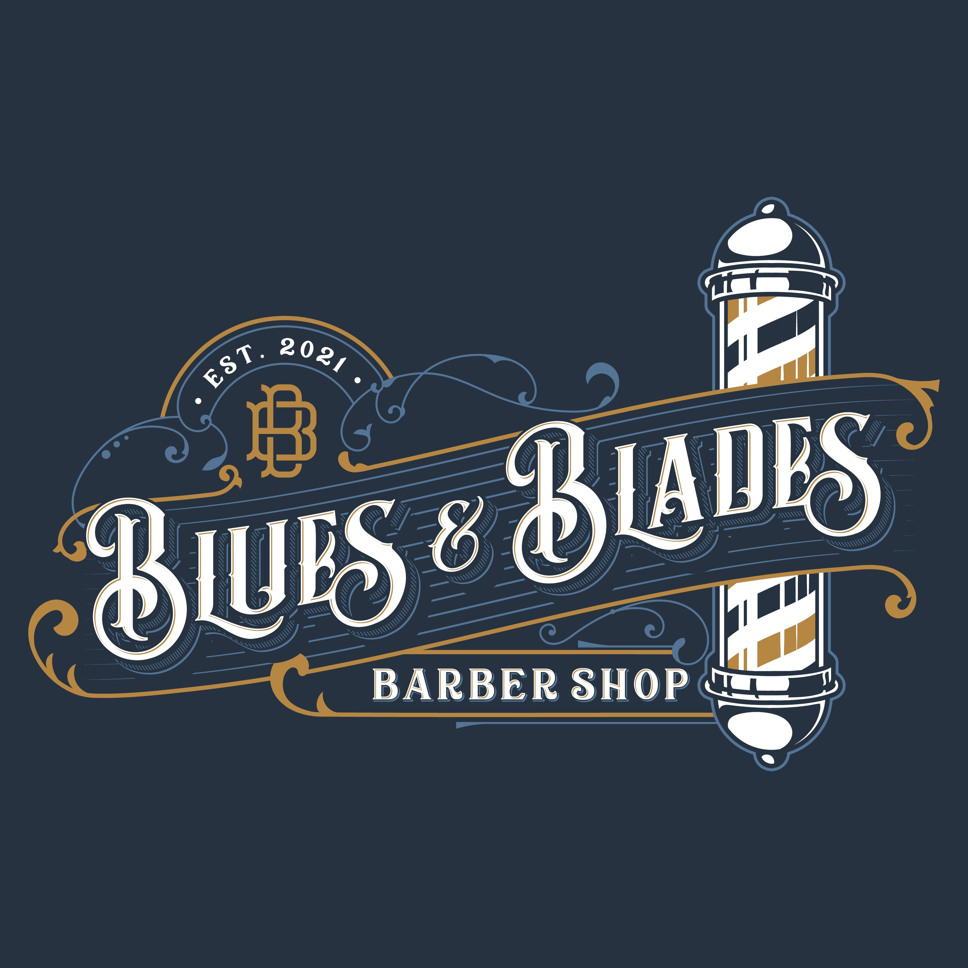 Design a unique retro logo for a men's barber shop