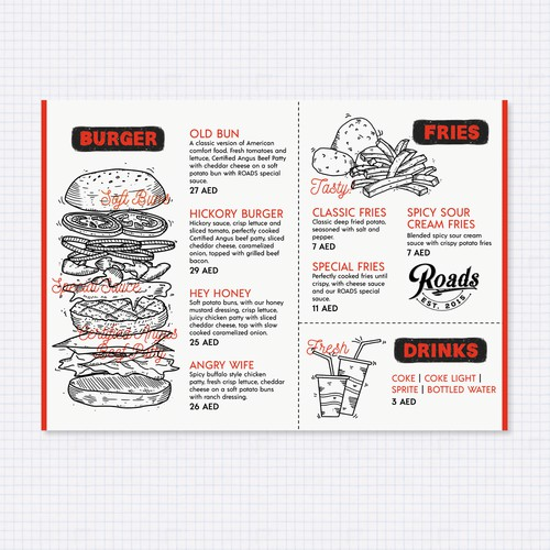 Hand drawn menu design