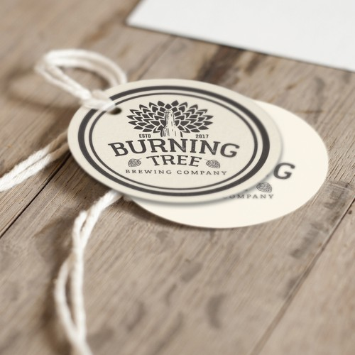 "Design a visual identity for ""Burning Tree Brewing Company."""