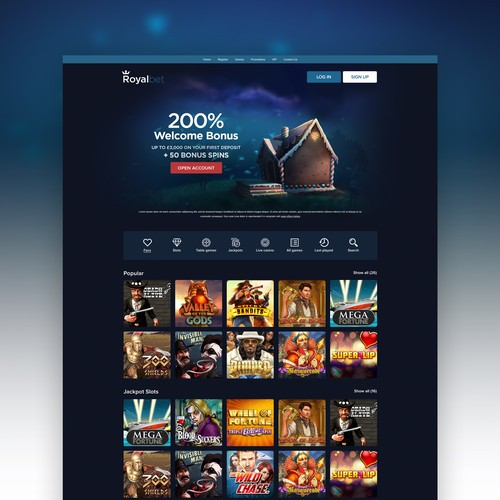 Modern Casino Homepage