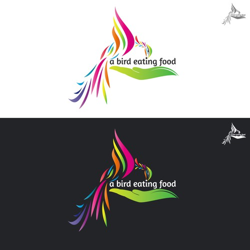 An Abstract Colorful Logo for A bird Eating Food Co.