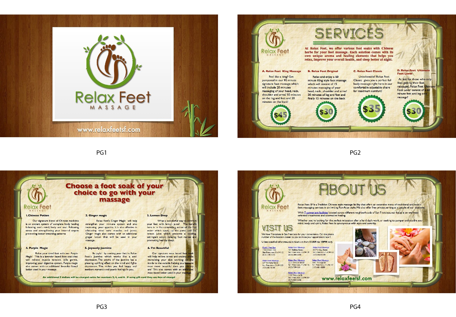 design for Relax Feet Massage menu