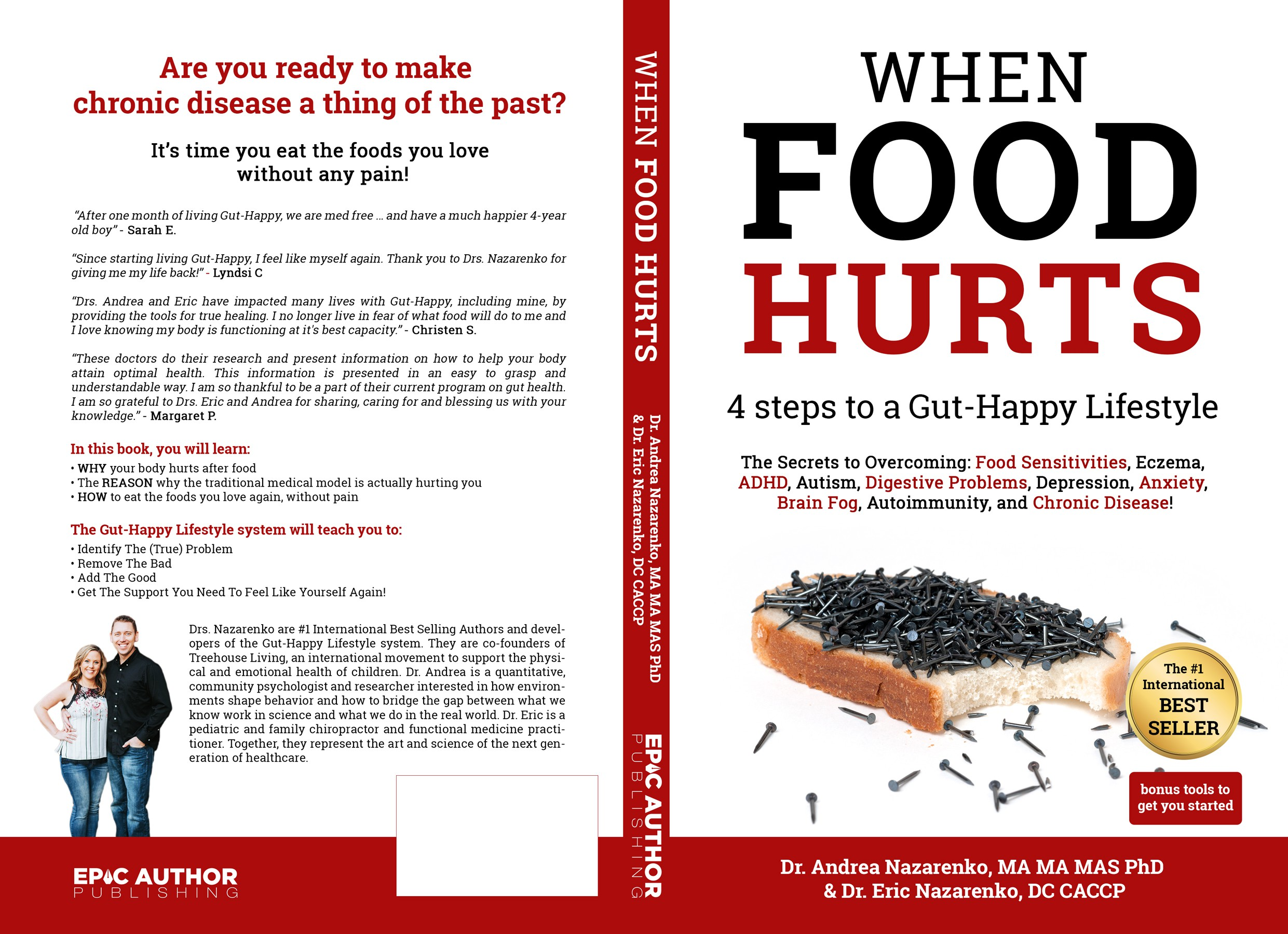 Design a book cover for a health and wellness book (gut health; food)