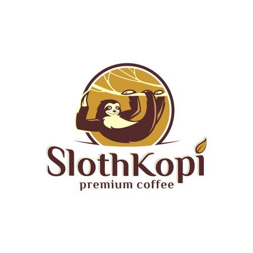 Sloth logo for Premium Coffee