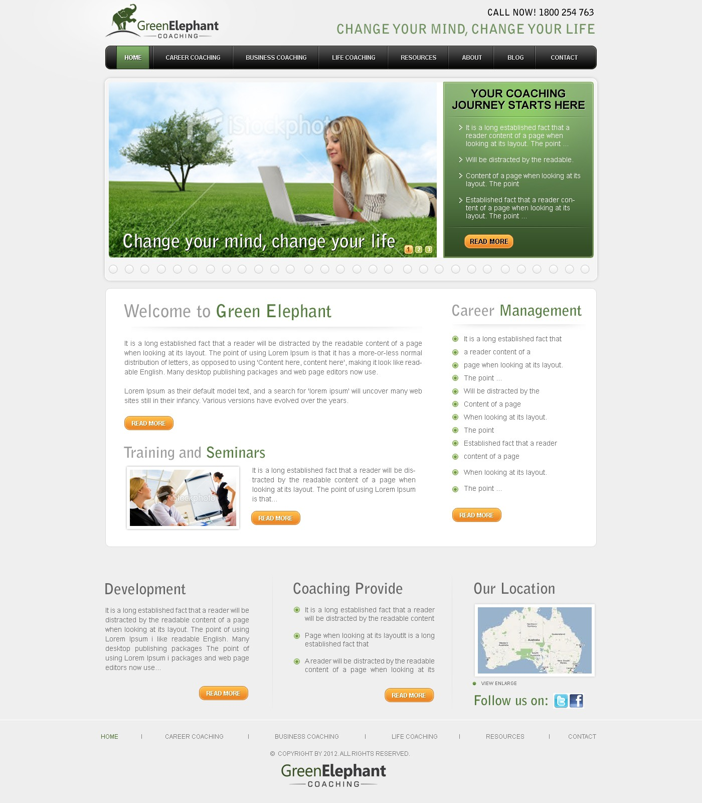 Website look and feel (WordPress theme) for Green Elephant Coaching