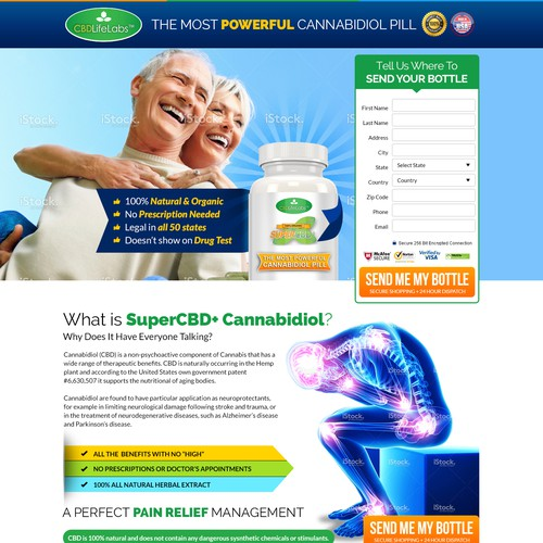 Hemp Pain Supplement Landing Page Design