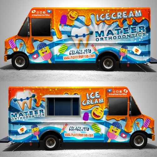 Ice cream truck for an orthodontist office wrap design