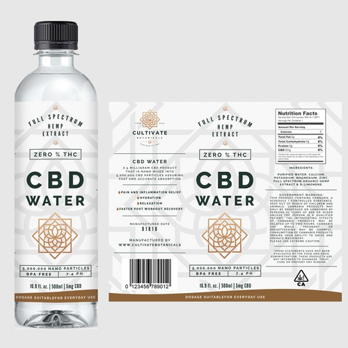 Label design for CBD Water