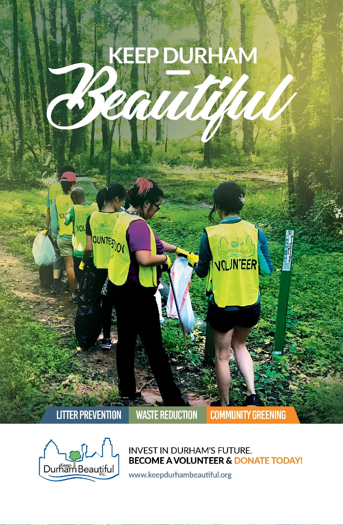 Full Page Broadway Playbill Print Ad for Keep Durham Beautiful NC USA