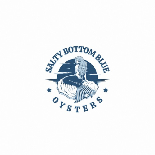 Eye catching logo for Salty Bottom Blue Oysters