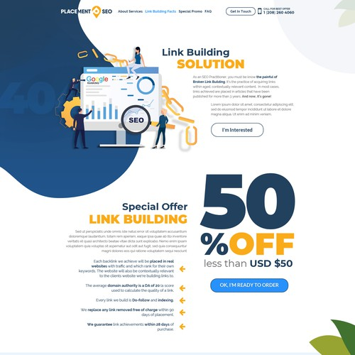Landing Page Design for PlacementSEO