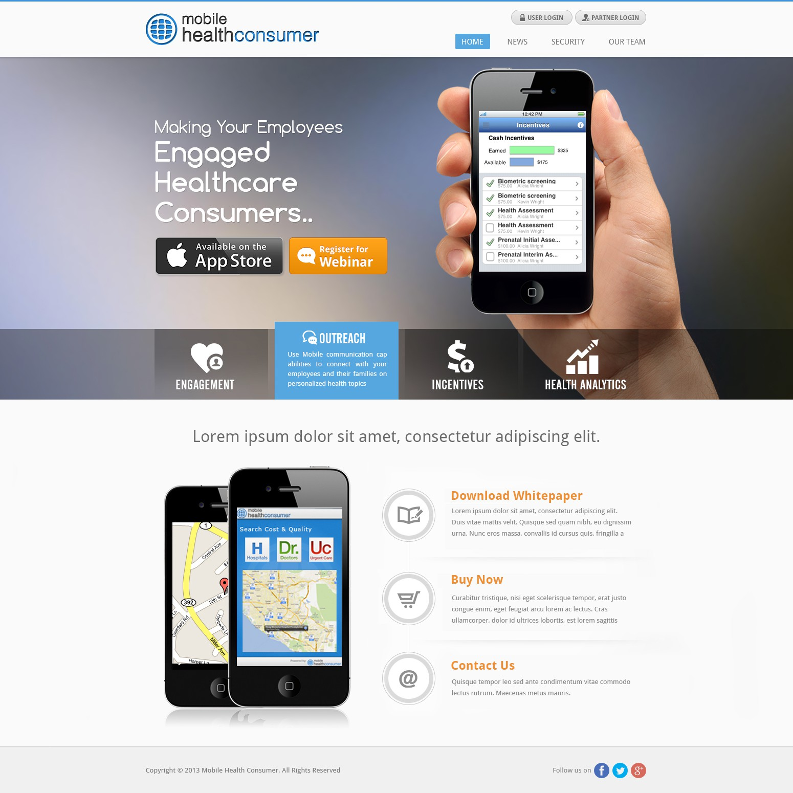 Mobile Health Consumer needs a new website design
