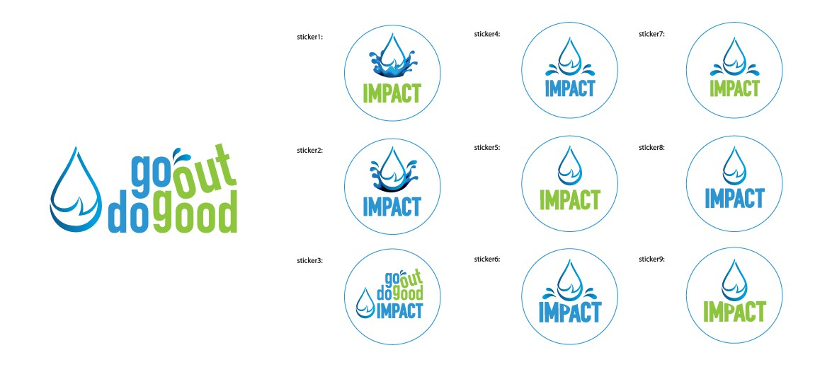 Create an emblem for beer bottles/glasses indicating impact (fundraising) for water issues